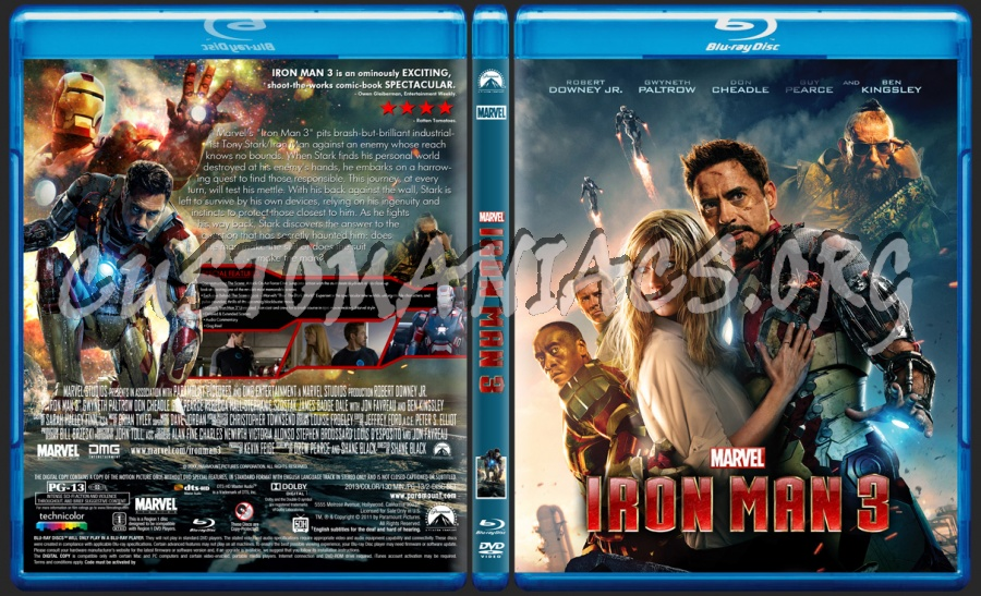 Iron Man 3 blu-ray cover