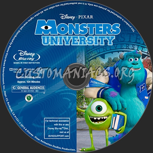Monsters University blu-ray label - DVD Covers & Labels by ...