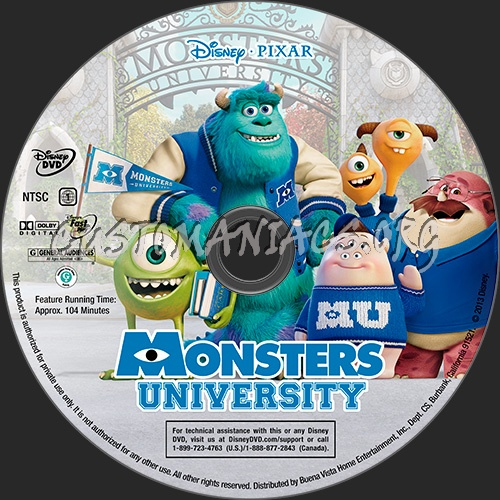 Monsters University dvd label - DVD Covers & Labels by ...