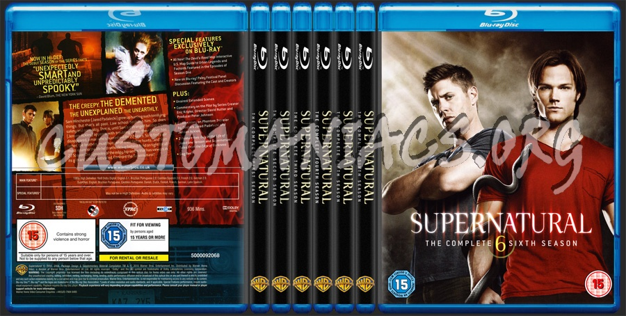Supernatural Season 1, 2, 3, 4, 5, 6 blu-ray cover