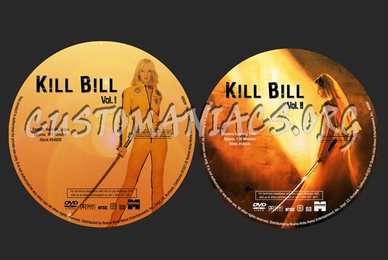 Kill Bill 1 & 2 dvd label