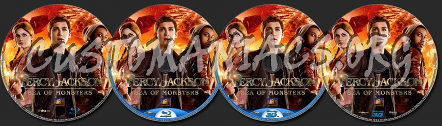 Percy Jackson Sea of Monsters (2013) 2D + 3D blu-ray label
