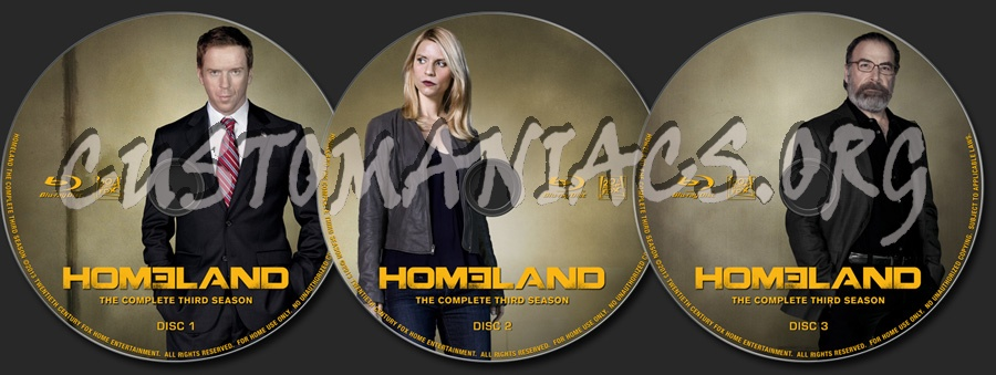 Homeland Season 3 blu-ray label