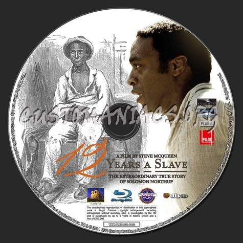 12 Years A Slave blu-ray label