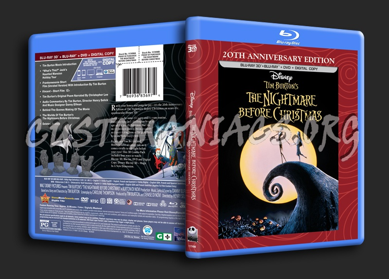 The Nightmare Before Christmas 3D blu-ray cover