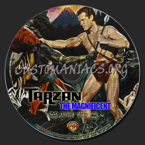 Tarzan the Magnificent Tarzan The Magnificent dvd label DVD Covers Labels by