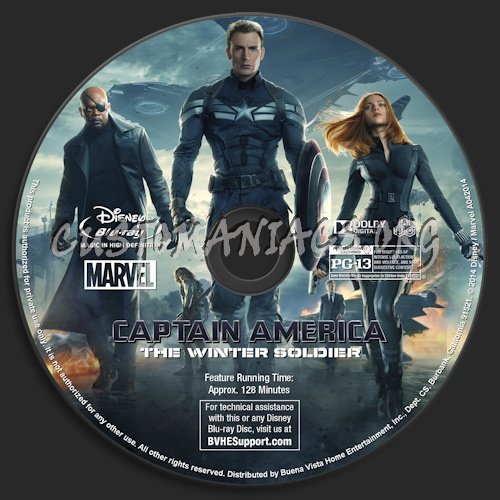 Captain America: The Winter Soldier blu-ray label