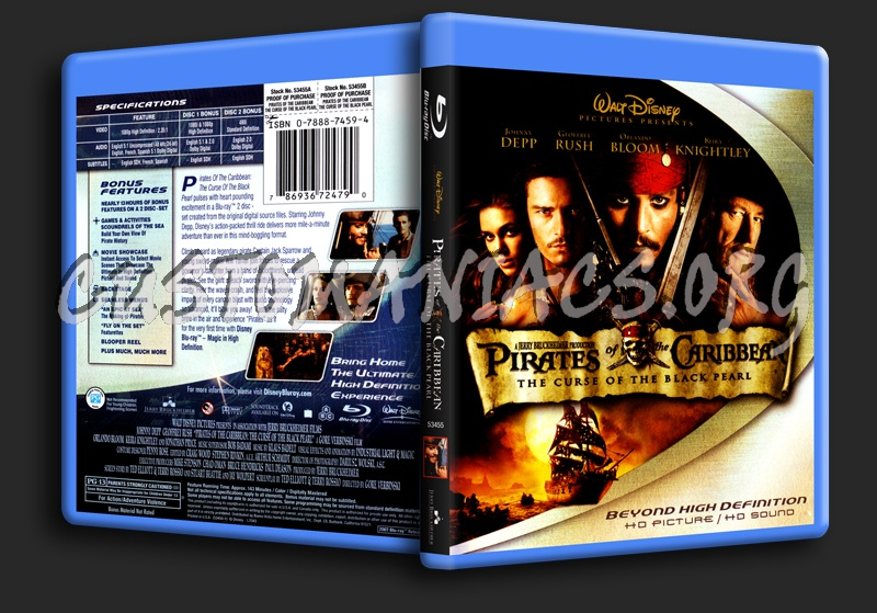 Pirates of the Caribbean The Curse of the Black Pearl blu-ray cover