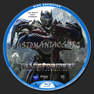 Transformers: Age of Extinction blu-ray label