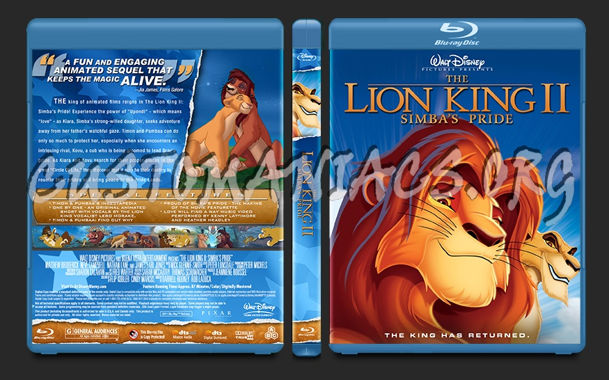 The Lion King 2: Simba's Pride blu-ray cover