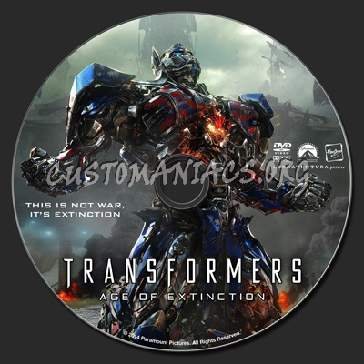 Transformers: Age Of Extinction dvd label