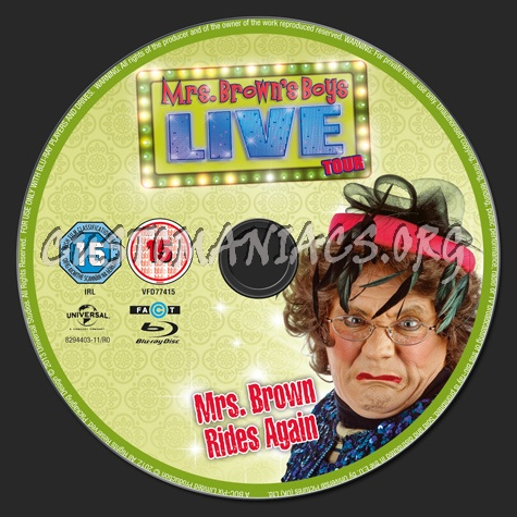 Mrs Brown's Boys Live Tour Mrs Brown Rides Again blu-ray label