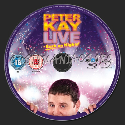 Peter Kay: Live & Back on Nights blu-ray label