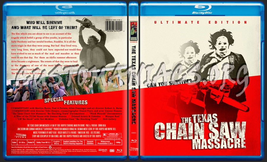 The Texas Chain Saw Massacre (1974) -aka- The Texas Chainsaw Massacre blu-ray cover