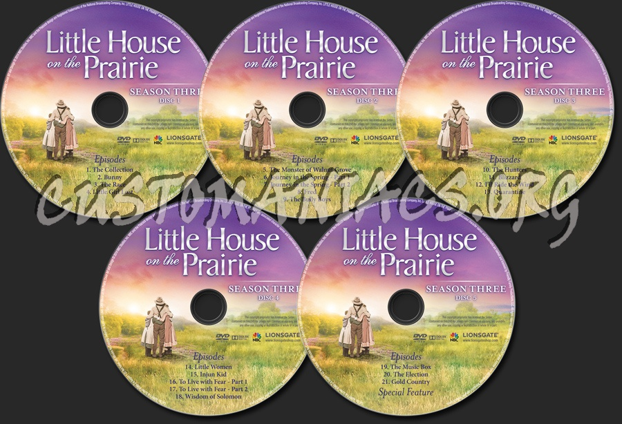 Little House on the Prairie Season 3 dvd label