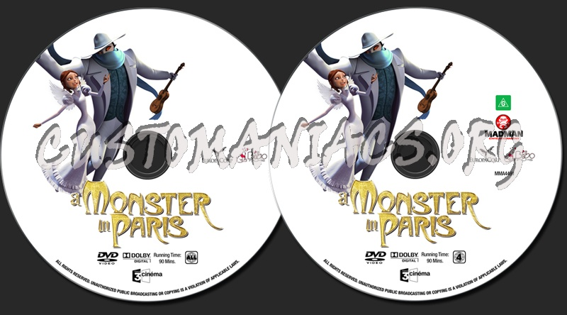 a Monster in Paris Dvd Cover a Monster in Paris Dvd Label