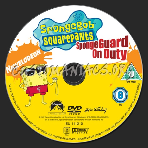 spongebob squarepants spongeguard on duty dvd label dvd