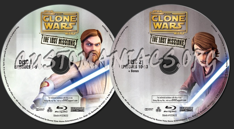 Star Wars The Clone Wars The Lost Missions Season 6 dvd label