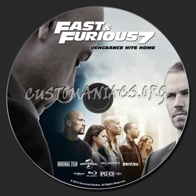 furious 7 aka fast furious 7 blu ray label dvd covers labels by customaniacs id 222353. Black Bedroom Furniture Sets. Home Design Ideas