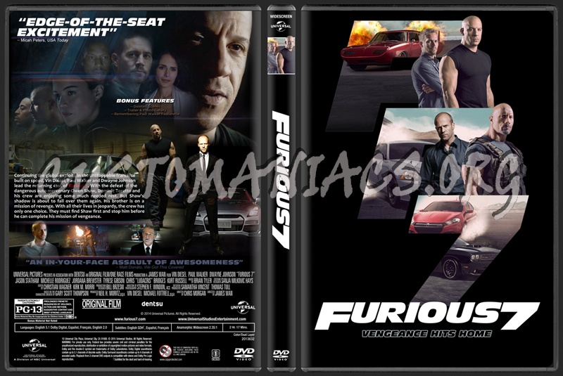 furious 7 aka fast furious 7 dvd cover dvd covers labels by customaniacs id 224461. Black Bedroom Furniture Sets. Home Design Ideas