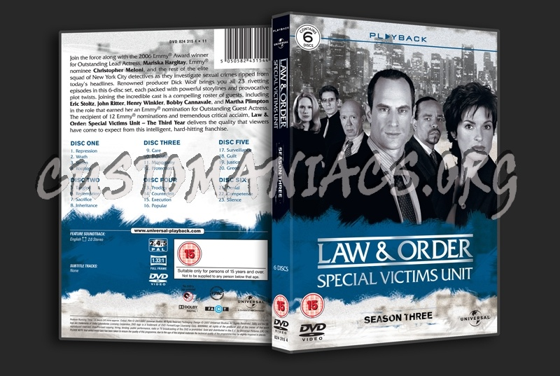 Law & Order Special Victims Unit Season 3 dvd cover