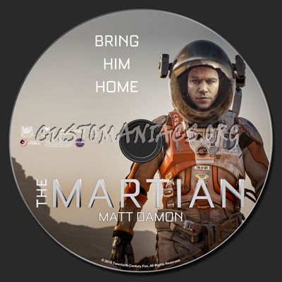 The Martian blu-ray label