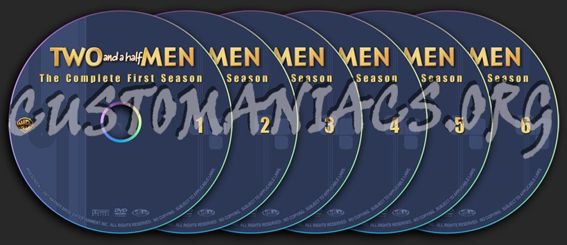 Two And A Half Men - Season 1, 2, 3, 4, 5 (Updated Season 6) dvd label