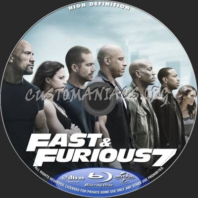 fast and furious 7 aka furious 7 blu ray label dvd covers labels by customaniacs id 228023. Black Bedroom Furniture Sets. Home Design Ideas