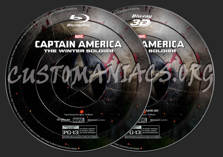 Captain America: The Winter Soldier (2D/3D) blu-ray label