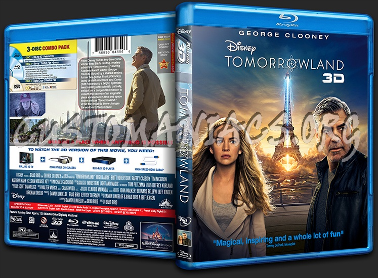 Tomorrowland 3d Blu Ray Cover Dvd Covers Labels By Customaniacs