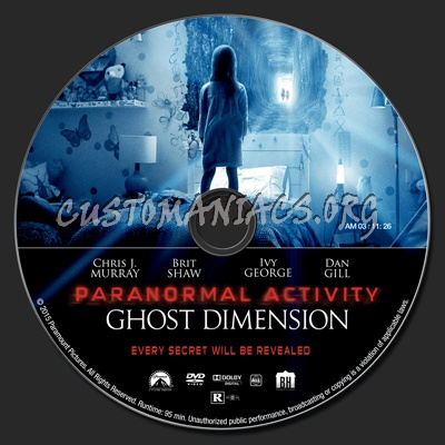 Paranormal Activity: The Ghost Dimension dvd label