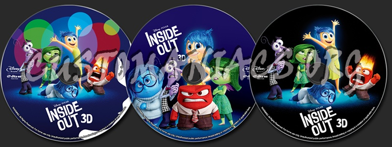 inside out 3d blu ray label dvd covers labels by. Black Bedroom Furniture Sets. Home Design Ideas