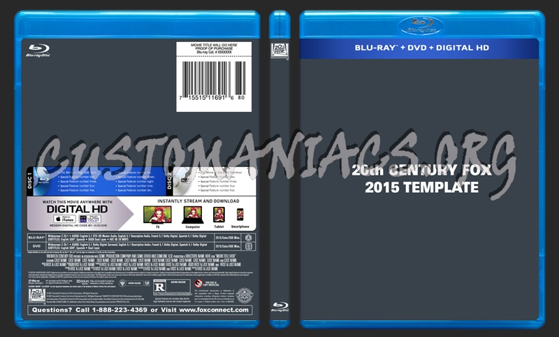 20th Century Fox 2015 Blu-ray/DVD + SF Template dvd label
