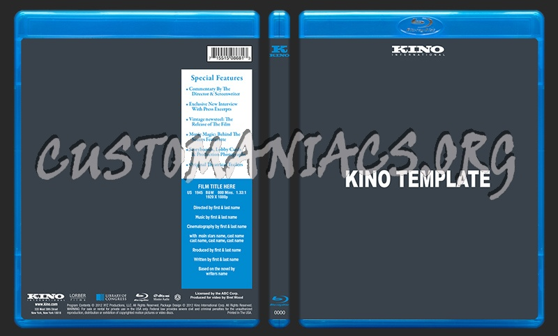 Kino Blu-ray Template dvd label