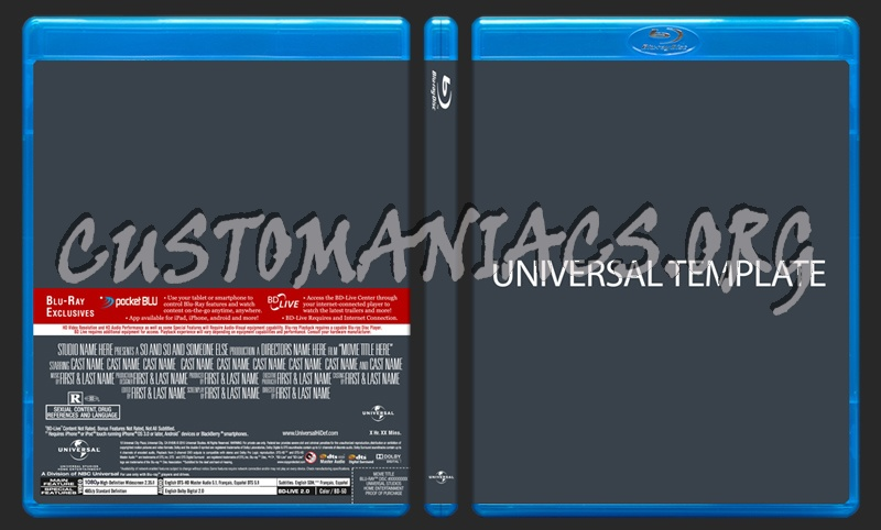 Universal Blu-ray Template dvd label