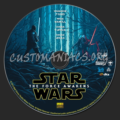 Star Wars: The Force Awakens (2D & 3D) blu-ray label