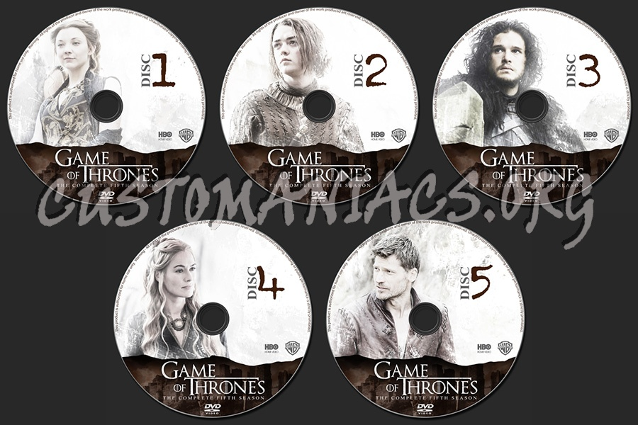 Game of Thrones Season 5 dvd label