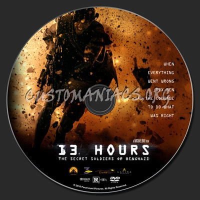 13 Hours: The Secret Soldiers Of Benghazi dvd label