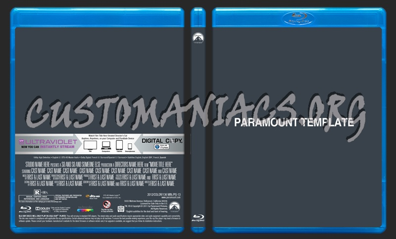 Paramount Blu-ray Template dvd label