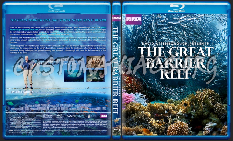 David Attenborough The Great Barrier Reef blu-ray cover
