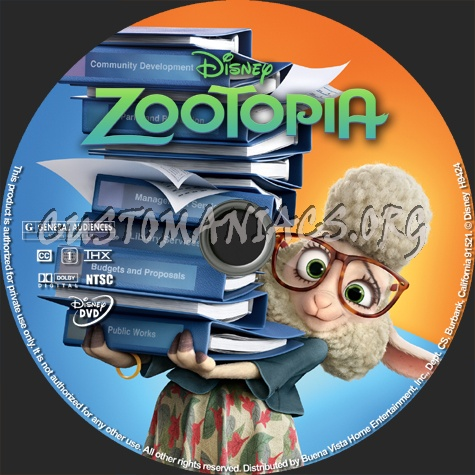 Zootopia dvd label