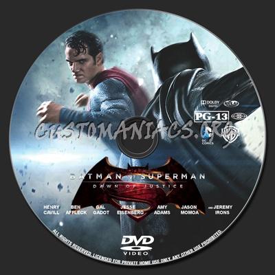 Batman v Superman: Dawn of Justice dvd label