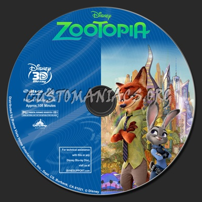 Zootopia (2D+3D) blu-ray label