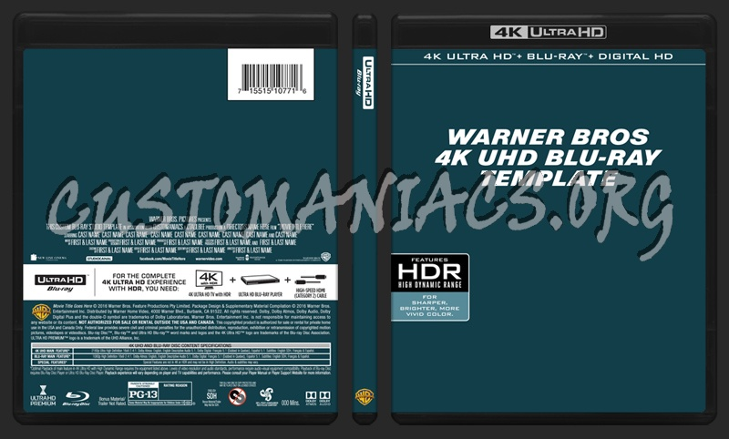 Warner bros 4k uhd blu ray template dvd label dvd covers for Php forum templates free download
