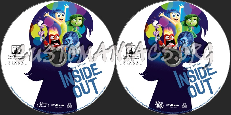 inside out 2d 3d blu ray label dvd covers labels by. Black Bedroom Furniture Sets. Home Design Ideas