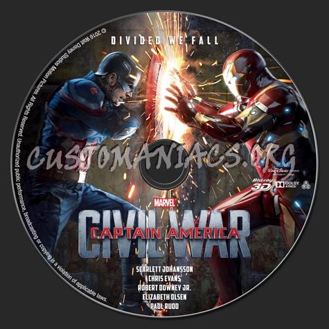Captain America: Civil War (2D & 3D) blu-ray label