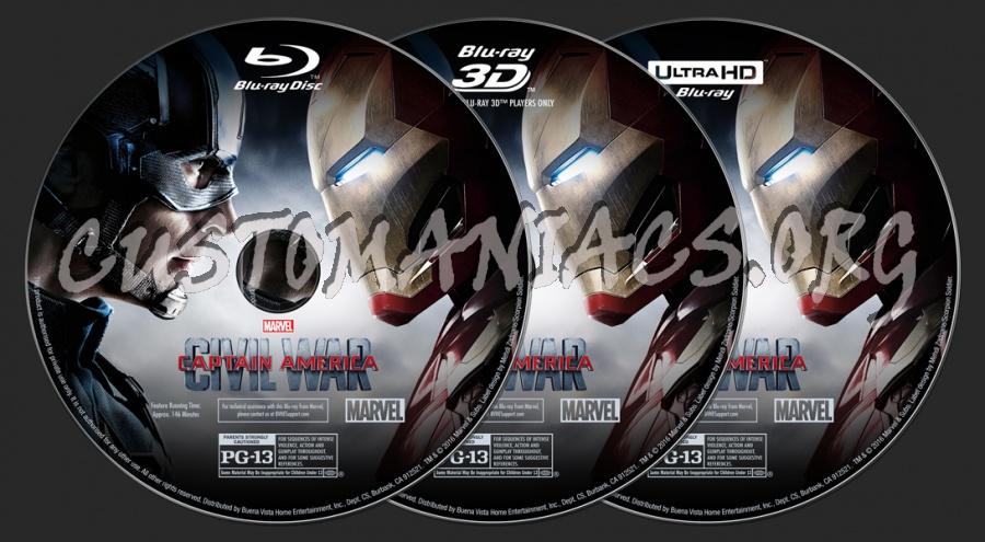 Captain America: Civil War (2D/3D/4K) blu-ray label