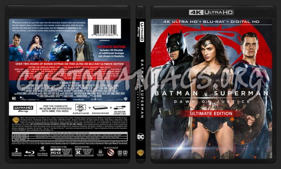 Batman VS Superman Dawn of Justice 4K blu-ray cover