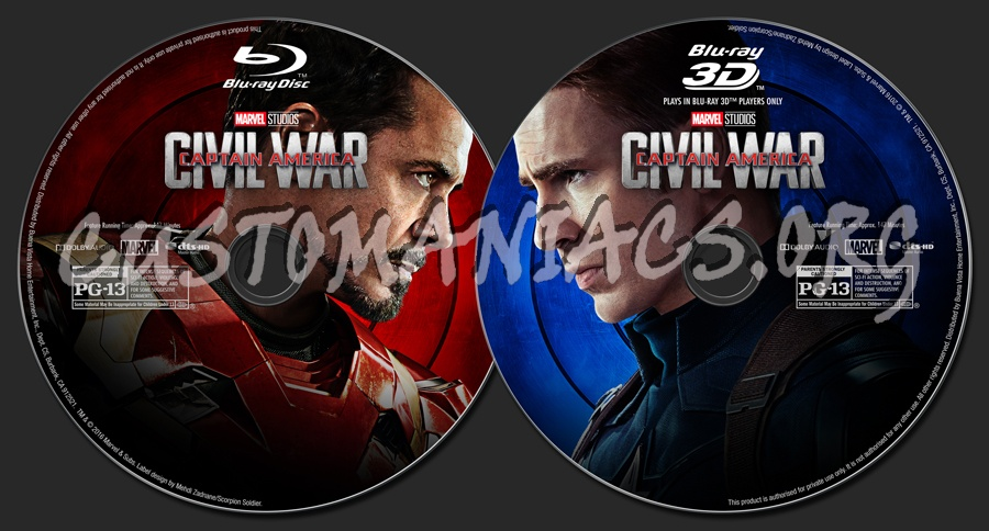 Captain America: Civil War (2D/3D/4K) blu-ray label
