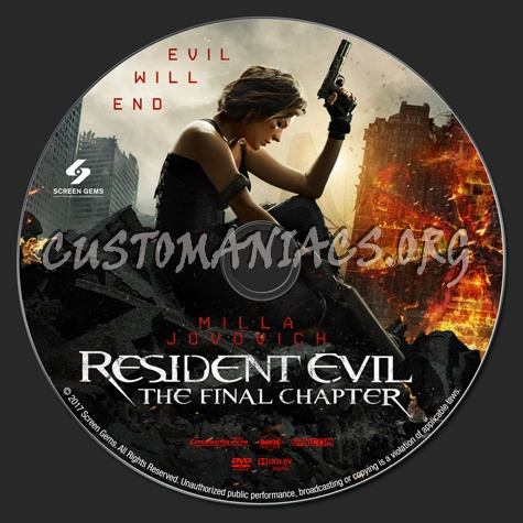 Resident Evil: The Final Chapter dvd label